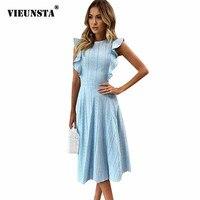 VIEUNSTA Women Ruffle Elegant Sundress Sexy Lace Boho Beach Party Dresses Summer O Neck Sleeveless Slim Blue White Women's Dress