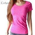 Codysale camisetas Mulheres Moda Casual T-shirt da Aptidão Quick-Dry Elastic Slim-manga Curta T-shirt camisas de Exercícios de Treino topos