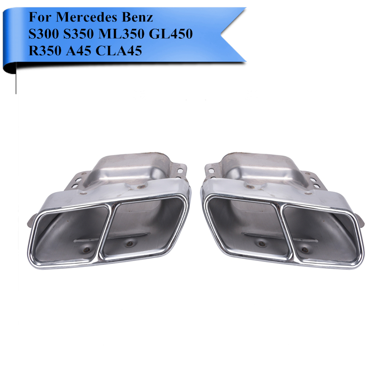 2PCS Chrome Stainless Steel Exhaust Tip Muffler Tips Pipe Quad For Mercedes Benz W164 W221 AMG 2005 - 2013 W166 W251 W216 #P387 1pair car accessorise brand stainless steel hole rear exhaust pipe tip muffler for mercedes benz w221 w164 amg 2005 2013