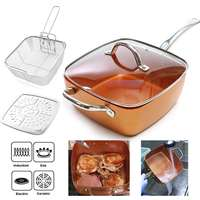 Ceramic Non Stick Pan Copper Square Pan Induction Chef Glass Lid Fry Basket Steam Rack 4 Piece Set 9.5 Inches Used In Induction