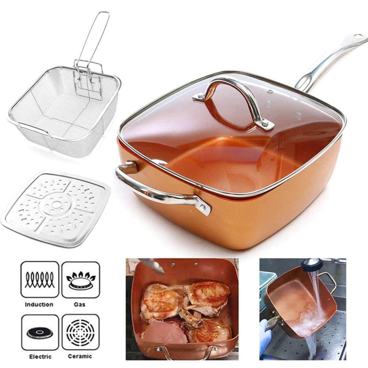 Poêle antiadhésive en céramique casserole carrée en cuivre Induction Chef couvercle en verre panier à frire panier à vapeur 4 pièces ensemble 9.5 pouces utilisé dans l'induction