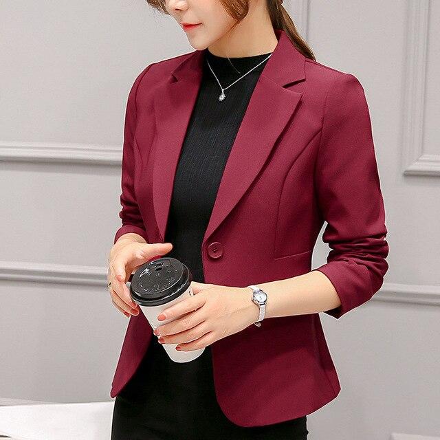 2018 Women's Blazer Pink Long Sleeve Blazers Solid One Button Coat Slim Office Lady Jacket Female Tops Suit Blazer Femme Jackets 5