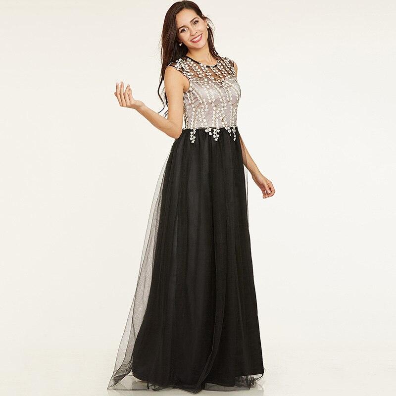 Tanpell longue robe de soirée ligne noire à manches courtes - Habillez-vous pour des occasions spéciales - Photo 2