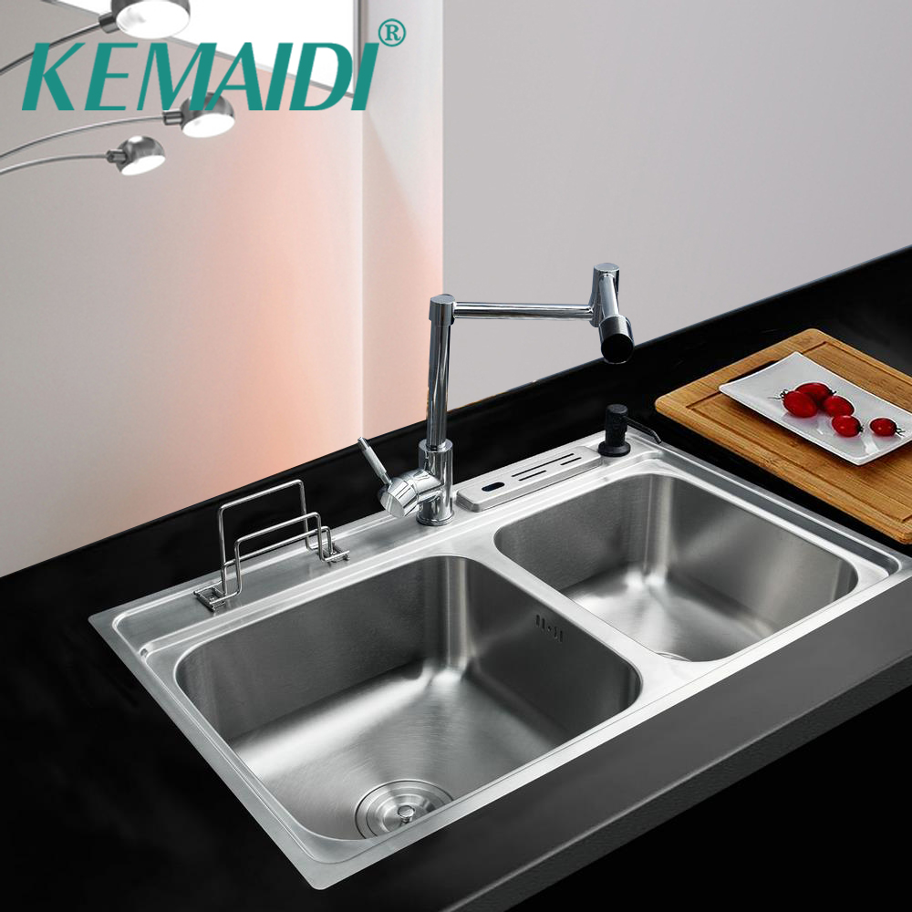 KEMAIDI Kitchen Stainless Steel Sink Bowl Kitchen Washing Vegetable Double Bowl High Quality SS-128528-4/112 With Swivel Faucet high quality kitchen tool daily necessities stainless steel oil colander bowl