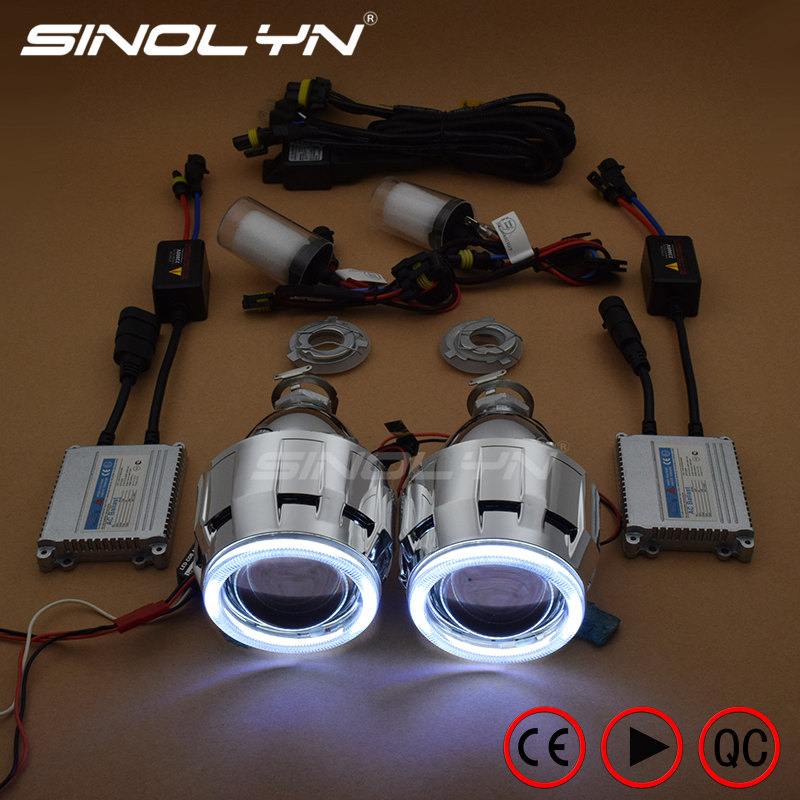 Sinolyn HID Projector Headlight Lenses Angel Eyes Bi-xenon Lens Full Kit Running Lights For H7 H4 Car Accessories Retrofit Style