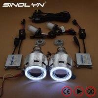 Sinolyn HID Projector Headlight Lenses Angel Eyes Bi xenon Lens Full Kit Running Lights For H7 H4 Car Accessories Retrofit Style