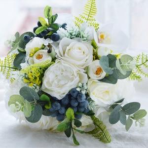 Image 2 - Kyunovia Green Alternative Wedding Centerpiece Toss Bouquet Rose Bridal Flower with Berries Mountain Meadow Wedding Bouquet FE48