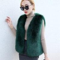New Short Fur Vest Winter Women Faux Fox Fur Vest Furry Slim Women's Fake Fur Vest Female Winter Coat Plus Size Faux Fur WZ066