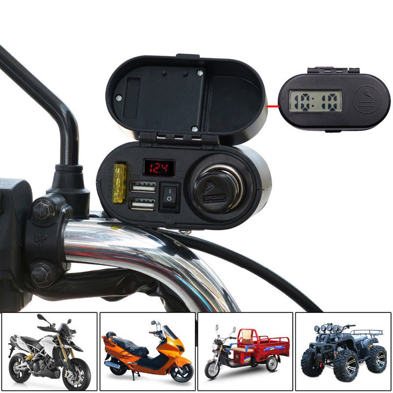 Motorcycle Waterproof Cigarette Lighter Charger Power Socket Dual Outlet Switch Car Digital Display Voltmeter