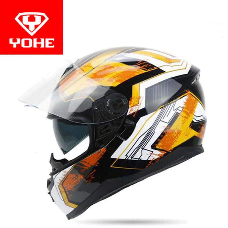 2018 summer New double lenses YOHE Full Face motorcycle helmet model YH-967 made of ABS and PC lens visor have 8 kinds of colors