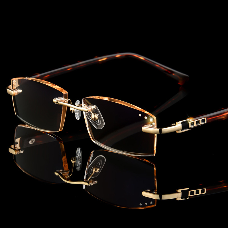 Luxury Business Reading Glasses Men's Rimless Gold Hyperopia Male Reader Eyeglasses High Clear Lens Man Presbyopic Eye Glasses