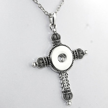 2016 Time-limited Hot Sale Necklace Cross Collares NE234 Snap Button Jewelry Newest Pendant Antique (fit 18mm Snaps)