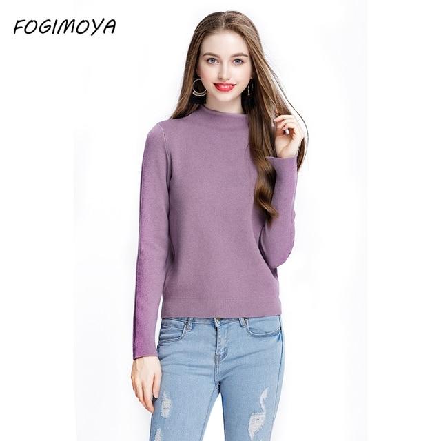 Fogimoya свитер осень-зима Повседневное пуловеры твердые топы Для женщин с круглым вырезом с длинным рукавом компьютер вязаный толстый свитер Новинка 2017 года