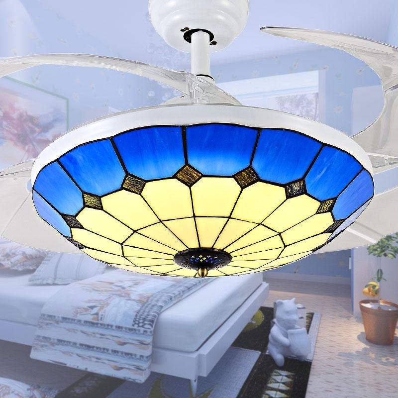 Fan Lamp Shades: Fine Blue And White Fan Fan Lamp Shade Ceiling Fan Light