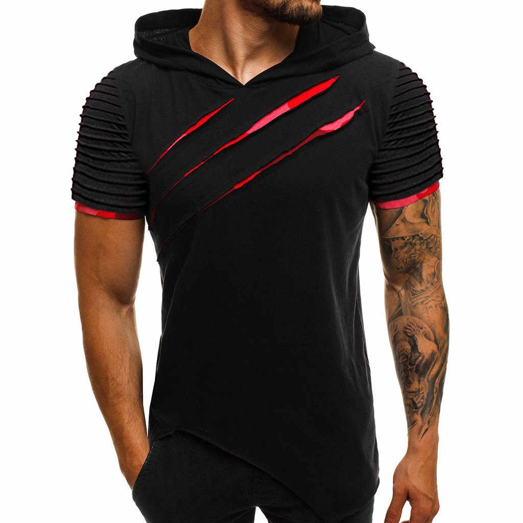 Men's tee shirt homme Hooded  T-shirt Summer Pattern Casual Gyms Fitness Comfortable Men's Shirt Men's clothing camisetas hombre