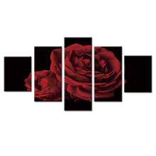 5 panel frame Red big rose canvas wall painting art home decoration living room canvas printing modern painting(China)