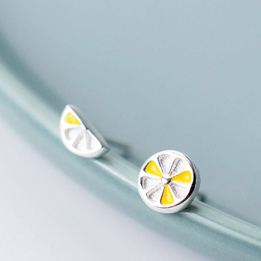 LicLiz 2019 New 925 Sterling Silver Yellow Lemon Stud Earrings for Women Cute Half Peice of Fruit Stud White Gold Jewelry LE0552 in Earrings from Jewelry Accessories