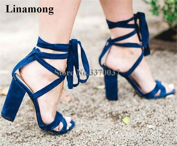 Linamong Women Fashion Open Toe Suede Leather Chunky Heel Sandals Lace-up Strap Cross Blue Beige Thick High Heel Sandals фото