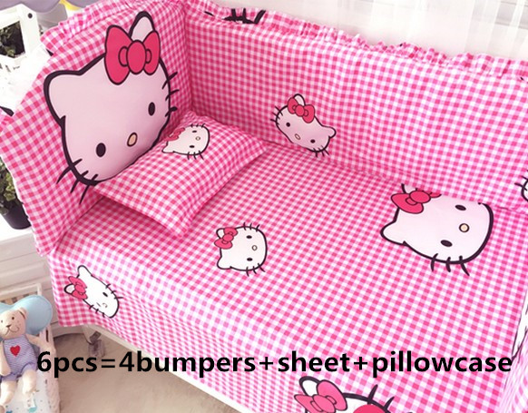 ФОТО promotion! 6pcs hello kitty baby girls bedding products bedding sets cot set crib bumper bed sheet (bumpers+sheet+pillow cover)