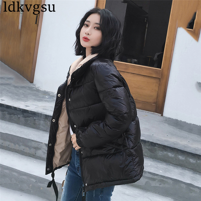 2019 New Short Black Red Gray Bright Winter Jacket Women Thickening Warm Outerwear   Parkas   Female Down Cotton Padded Loose Coats