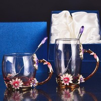 New Enameled Crystal Glass Of Rose Heat Resistant Tea Glass Drinkware Bottle Come With Spoon Tea