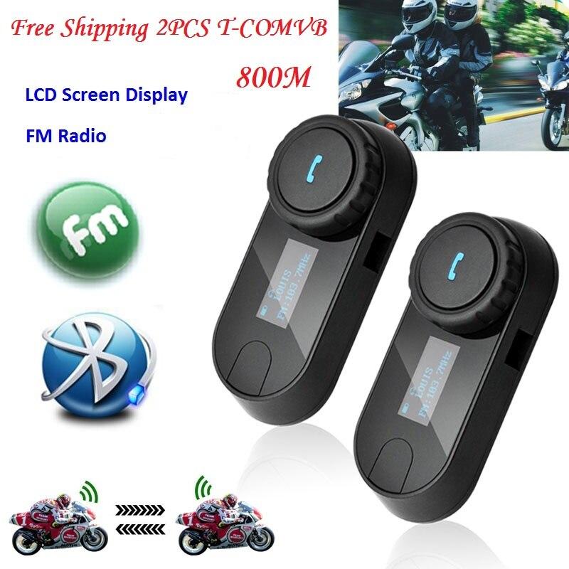 2 PCS Livraison Gratuite T-COMSC 800 m Étanche Moto Ski Casque Bluetooth Mains Libres Interphone Interphone Casque avec ÉCRAN LCD FM