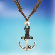 2016 New Arrival Men's Women's Punk Style Anchor Pendant Genuine Leather Necklace Cord Adjustable
