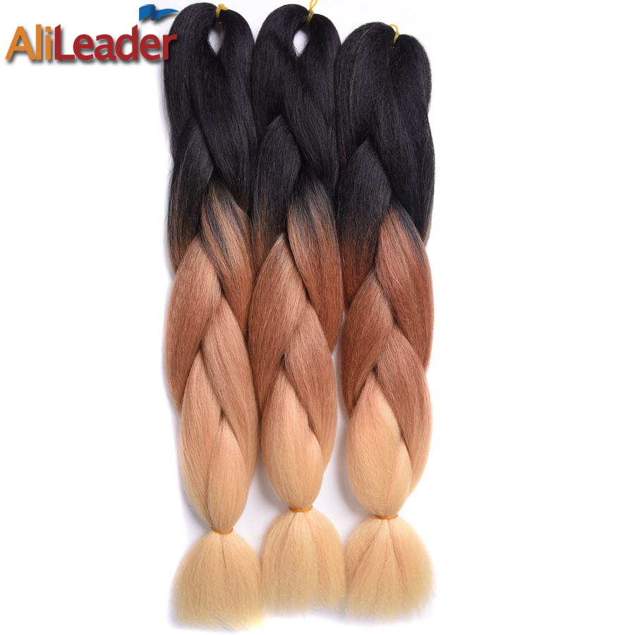 "AliLeader Hair Products 3Pcs/Lot Ombre Braiding Hair 100G/Piece Ombre Colors Synthetic Hair For Braid 24"" Kanekalon Jumbo Braid"