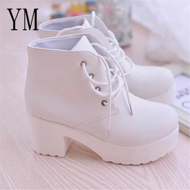 2018 New Martin boots Women Platform Shoes lace up Pu leater shoes White Black Women Chunky Heels Hot Sale Shoes Woman 35-41