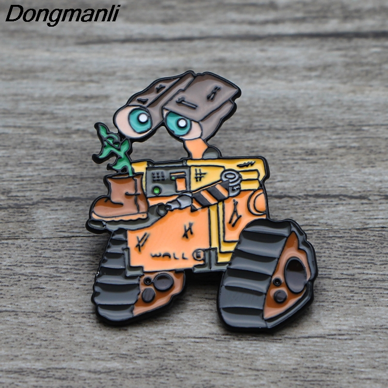 L3701 Funny Robot WALL E Metal Brooches and Pins Enamel Pin for Backpack/Bag/Clothes Badge Brooch T-shirt Collar Jewelry 1pcs