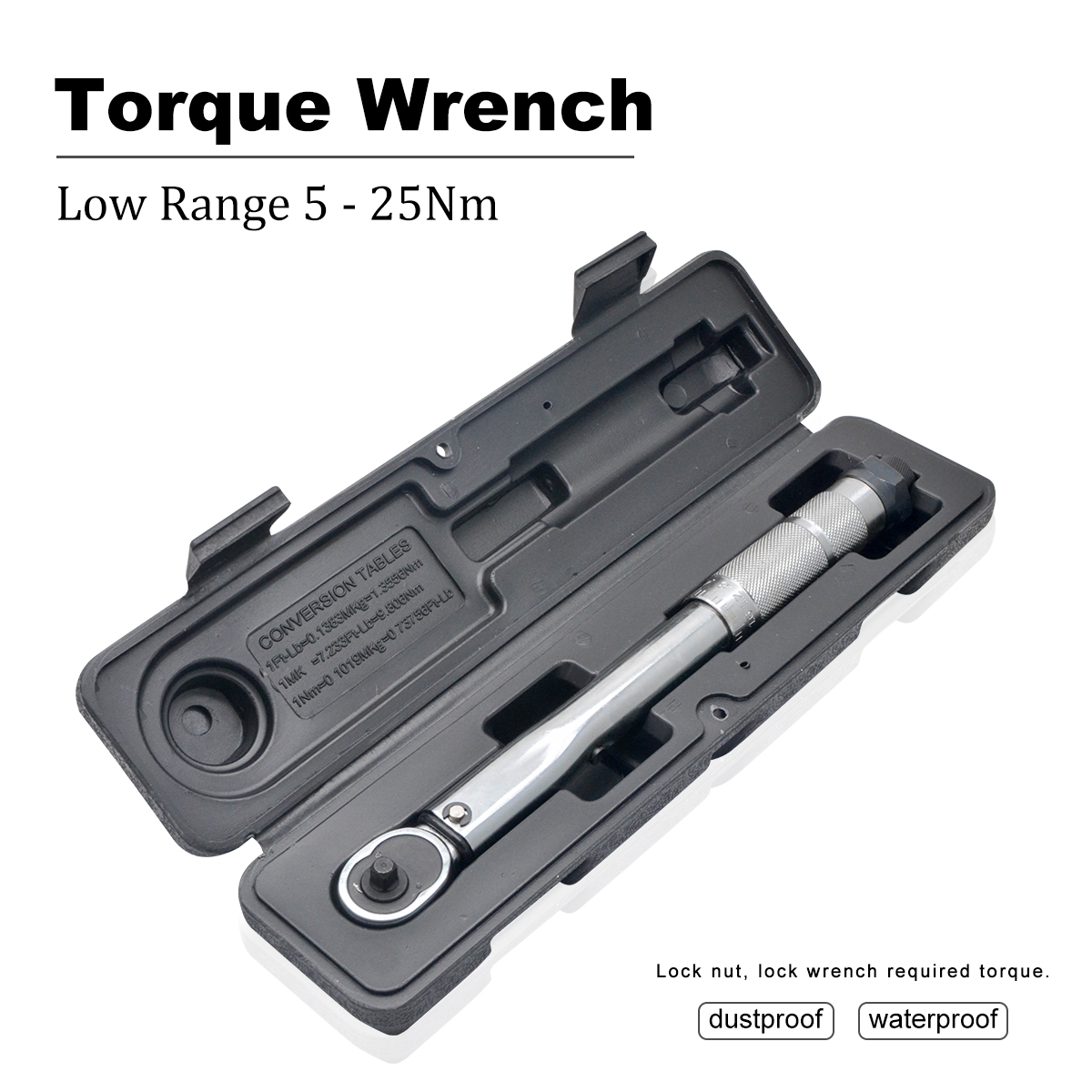 Torque Wrench Bike 1/4 Square Drive 5-25N.m Two-way Precise Ratchet Wrench Repair Spanner Key Hand Tools
