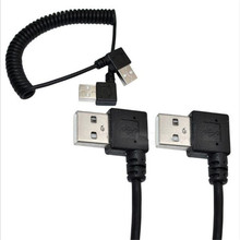 Double left bend 90 degree spring retractable line USB male to public line mobile hard disk computer mobile phone data cable 90 degree right double elbow micro usb male charge data cable bend left retractable spring line for samsung android mobile phone