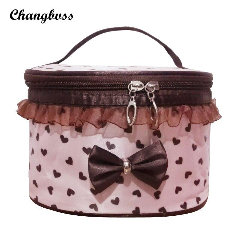 Princess Style Cosmetic Bag Bowknot Oval Makeup Storage Box Desktop or Travel Cosmetics Organizer Women Handbag Toiletry Pouch