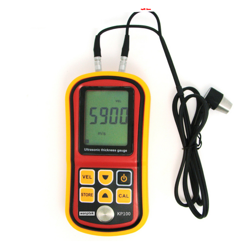 Ultrasonic Thickness Tester Metal Width Measuring Tools 1.2 to 225mm 5MHz Sound Velocity 1000 to 9999m/s Meter