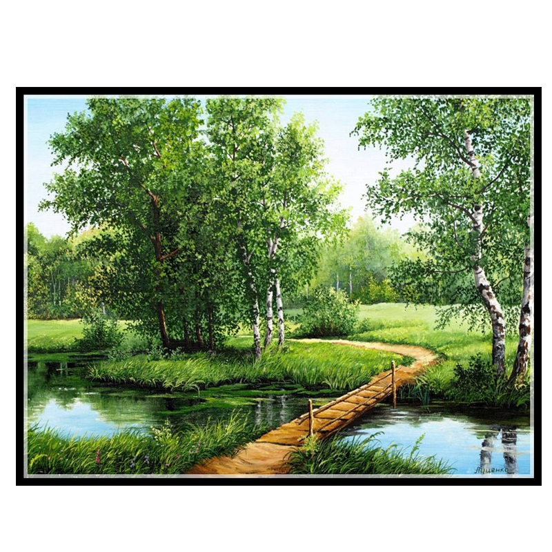 14/16/18/27/28 Needlework,DIY14CT  Cross Stitch Embroidery The Lanes In Forest Arts Counted Canvas Cross-Stitching Embroidery