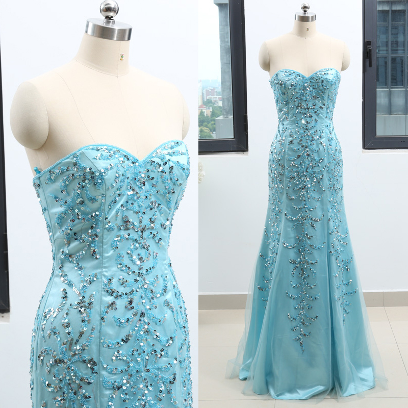 Sky Blue Sheath Strapless Floor-Length Beading Tulle Prom Party Formal Evening Dress M 262755