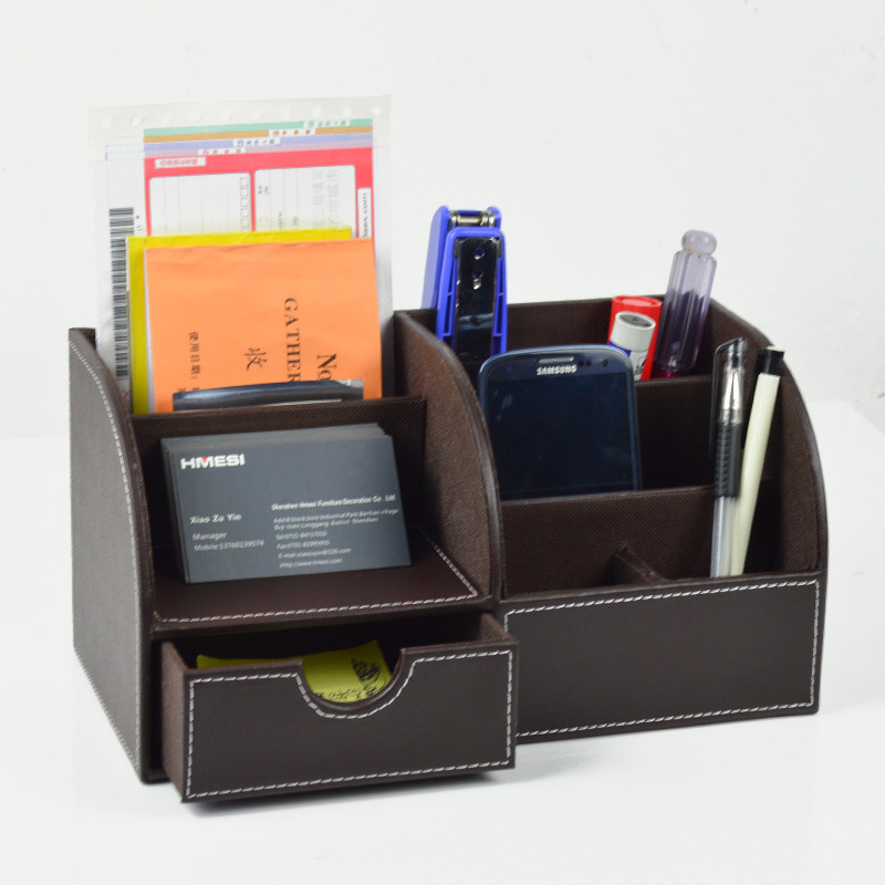 6 Blocks Holder Multifunctional PU Office Desk Organizer Desktop Stationery Storage Box Drawer Pen Holder Supplies Organizer free shipping wood 6051 wool multifunctional pen office pen holder notes box supplies