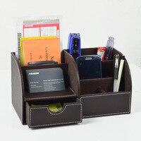 6 Blocks Holder Multifunctional PU Office Desk Organizer Desktop Stationery Storage Box Drawer Pen Holder Supplies Organizer