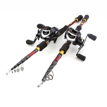 High Quality 1.8M-2.7M carbon lure rod Casting Rods and CastingReels Fishing Set Travel Tackle fishing fish фото