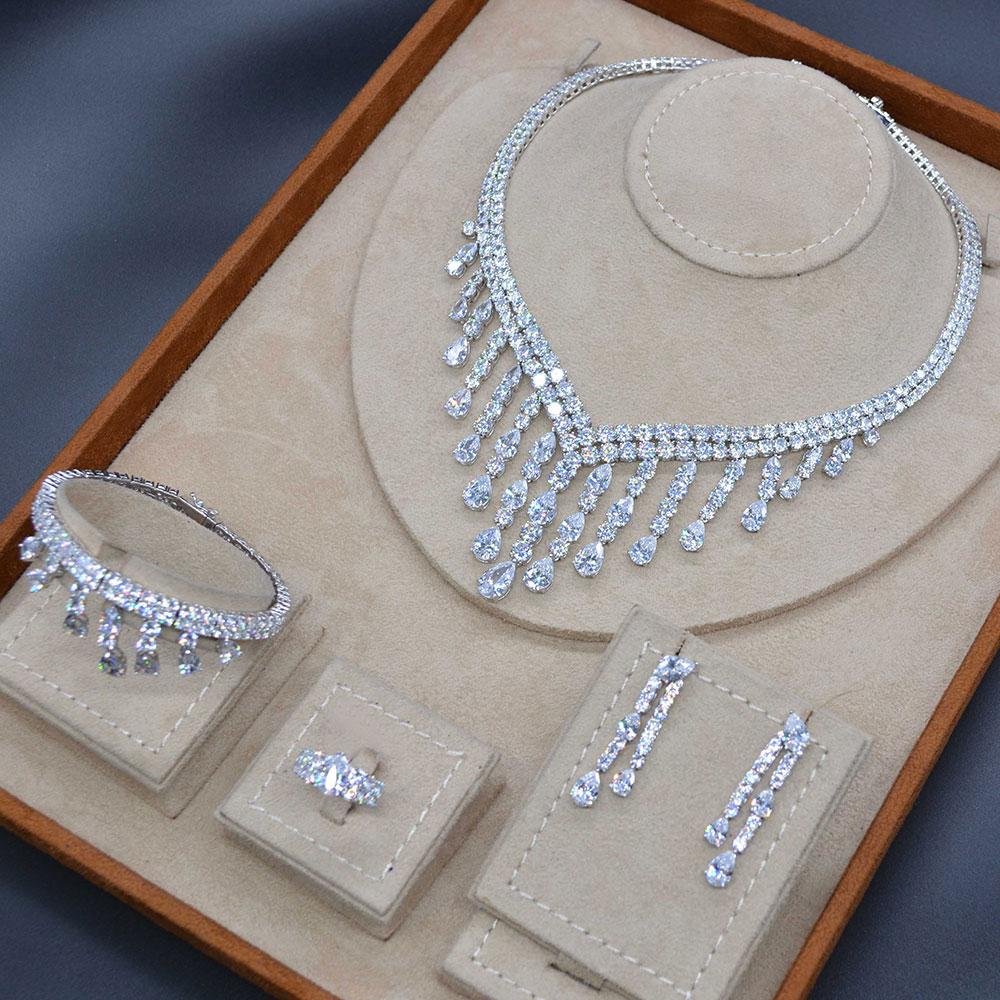 GODKI Luxury Long Tassel Drop 4PC Saudi Arabia Silver Jewelry Sets For Women Wedding Zircon Crystal