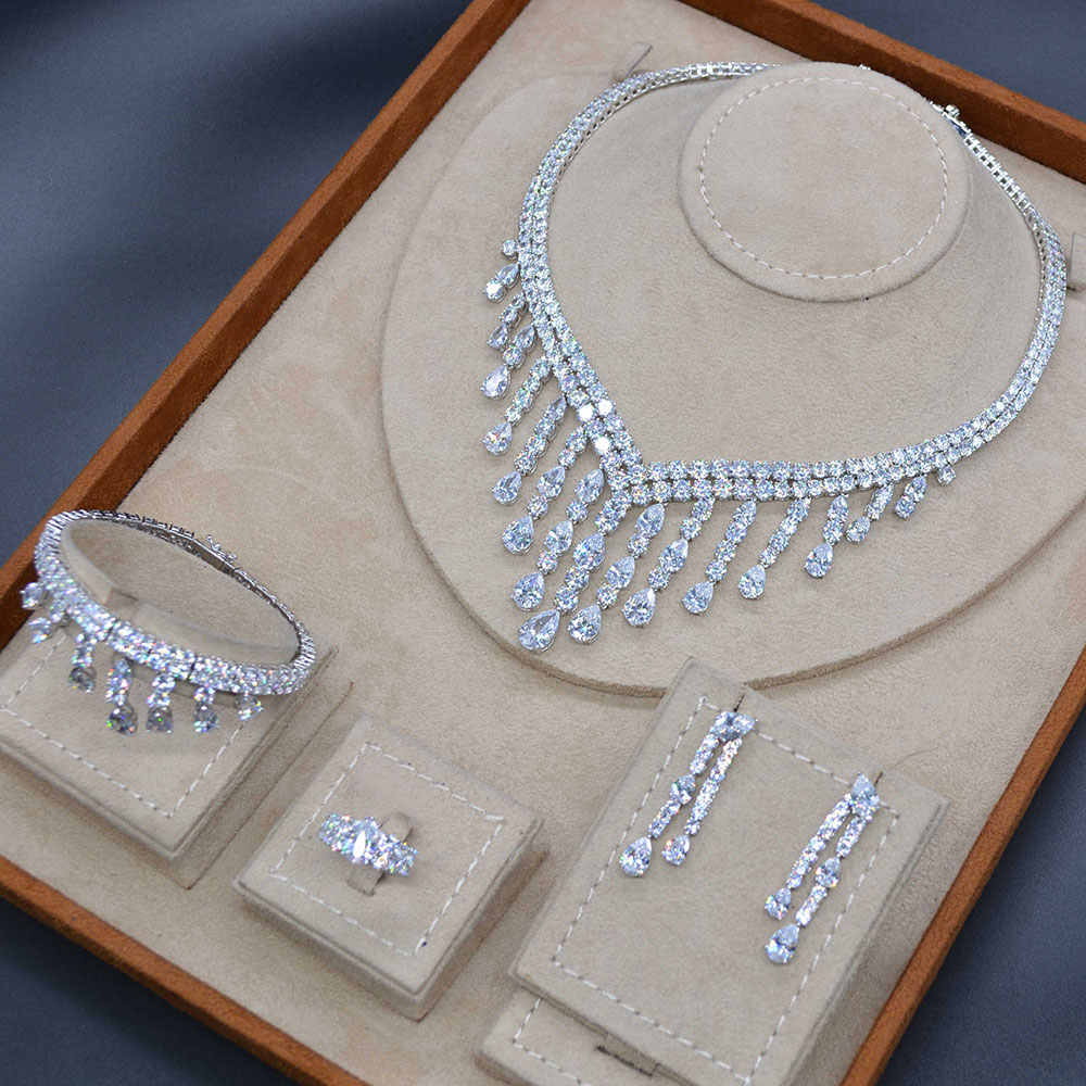 GODKI Luxury Long Tassel Drop 4PC Saudi Arabia Silver Jewelry Sets For Women Wedding Zircon Crystal CZ Indian Bridal Jewelry Set
