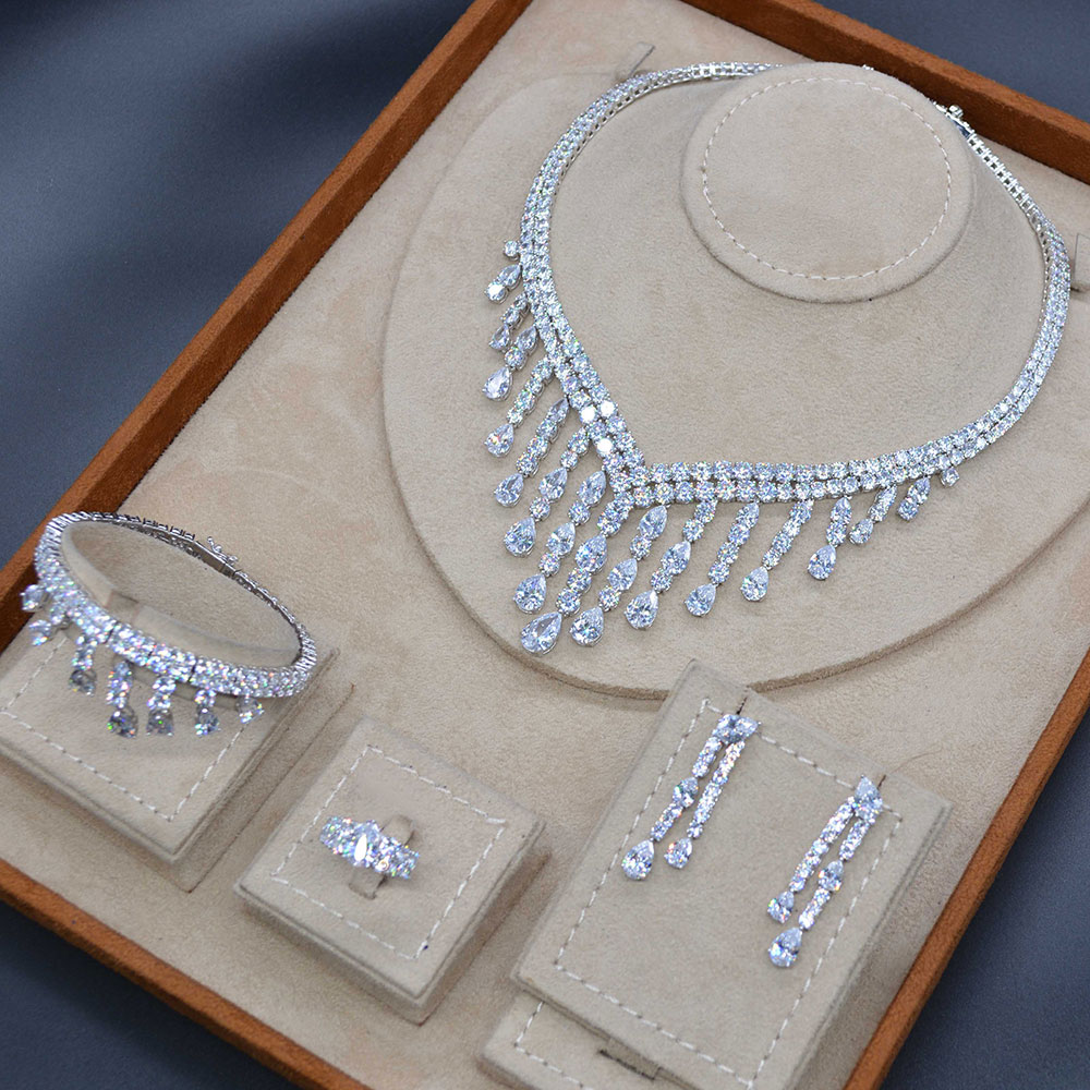 GODKI luxe Long gland goutte 4 PC arabie saoudite bijoux en argent ensembles pour les femmes de mariage Zircon cristal CZ indien ensemble de bijoux de mariée