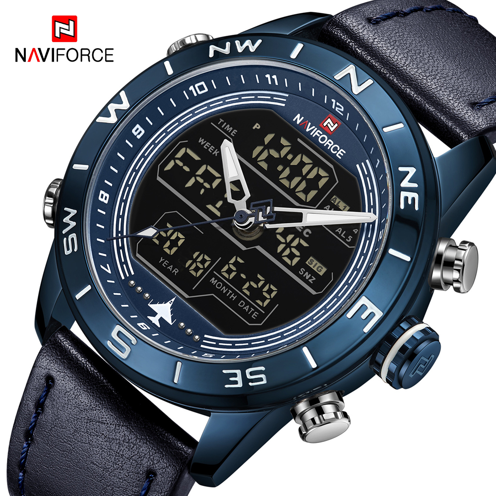 NAVIFORCE Watch Fashion Men LED Analog Digital Watches Top Brand Luxury Waterproof Military Quartz Watch Men Sport Wrist Watch|Quartz Watches|   -