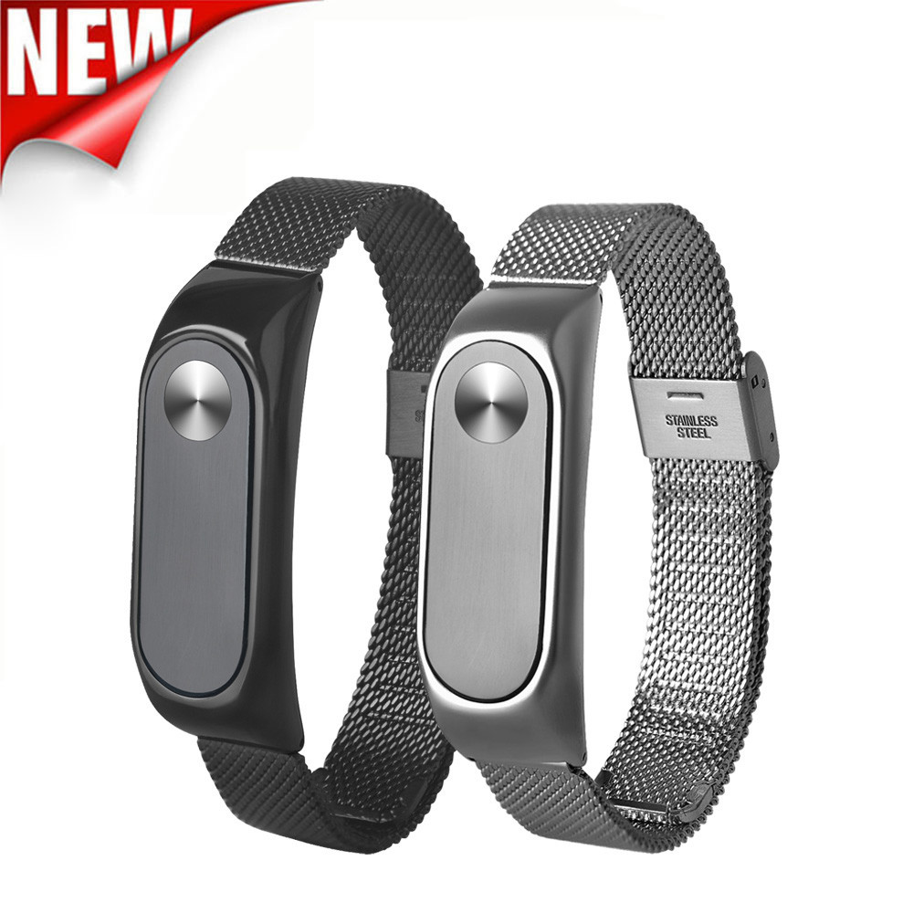 Lightweight Stainless Steel Wristband Watch Smart Wrist Bracelet Soft Band Strap Adjustable Replacement For Xiaomi Miband 2 BFOF genuine stainless steel bracelet quick replacement fit band strap wristband for garmin forerunner 935 watch dignity nov 2