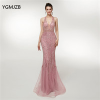 Real Picture Luxury Dubai Arabic Mermaid Evening Dresses 2018 New V Neck Heavy Beaded Sequins Formal Prom Dress Robe De Soiree