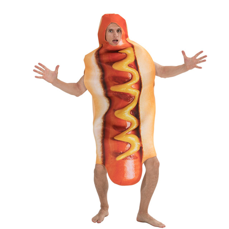 Adult Halloween Festival Stage Performance Funny 3d Print Food Sausage Hot Dog Costumes Adult Hooded Jumpsuit Party Cosplay