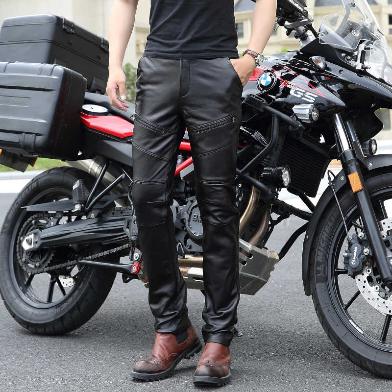 New Fashion Add Wool Warm Leather Pants Men Genuine Leather Straight Pants Mens Plus Size Zipper Korean Motorcycle Trousers