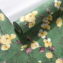 American Rustic Vine Flower Green Solid Color Countryside Wall Papers Home Decor Bedroom Living Room papel mural carta da parati