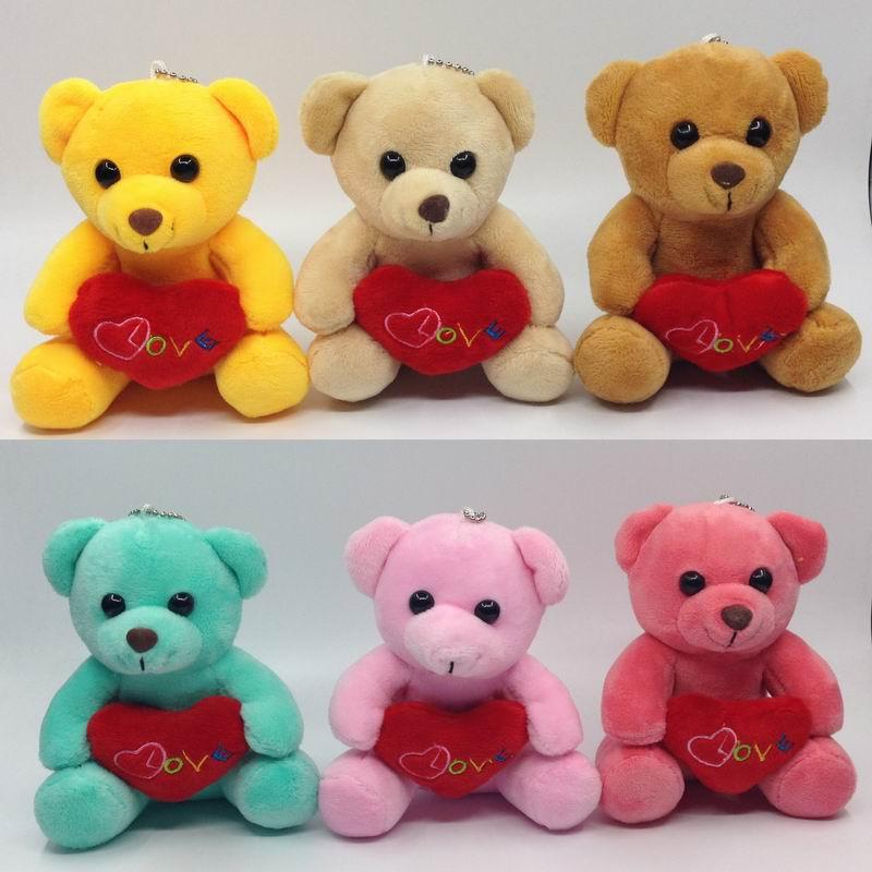 12 см (4.8 ) x6pcs милые плюшевые сидящий медведь с сердце любовь мягкий Игрушечные лошадки мягкие Куклы для сумка/брелок Baby Show подарок многоцвет...