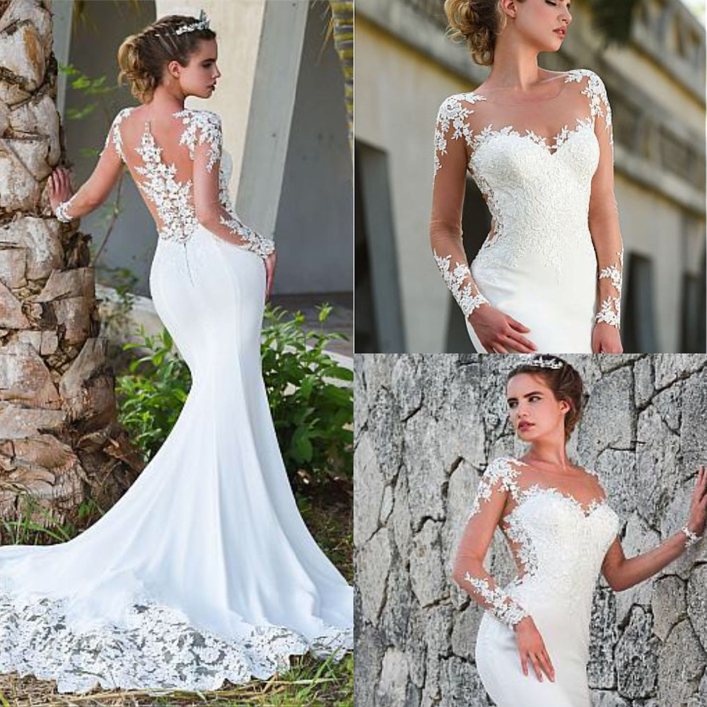 Fantastic O Neck Mermaid Wedding Dresses Custom Made Sexy See Through Long Sleeve Illusion Back Bridal Gowns Floor Length-in Wedding Dresses from Weddings & Events    1